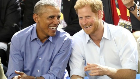 Barack Obama and Prince Harry share at laugh at this year's Invictus Games in Canada.