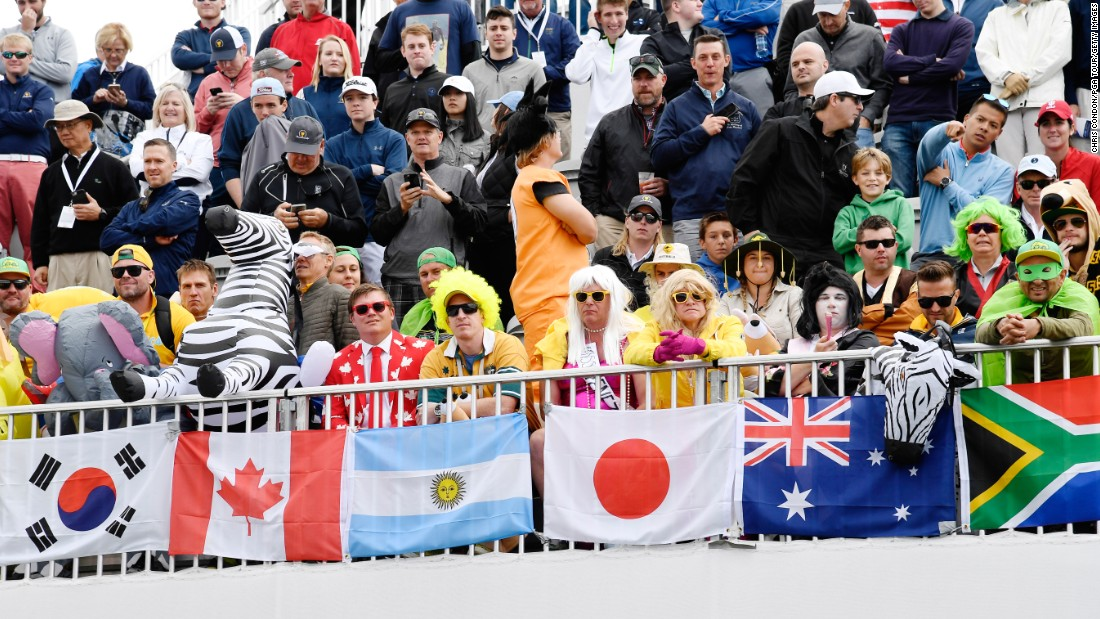 Fans on the first tee during the afternoon four-ball matches at the Presidents Cup at Liberty National Golf Club on September 30, 2017, in Jersey City, New Jersey. (Photo by Chris Condon/PGA TOUR)