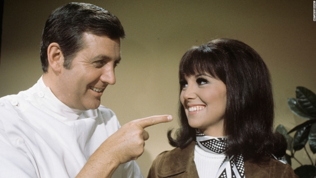 "Monty Hall and Marlo Thomas are pictured in an episode of the TV comedy ""That Girl"" in 1969."