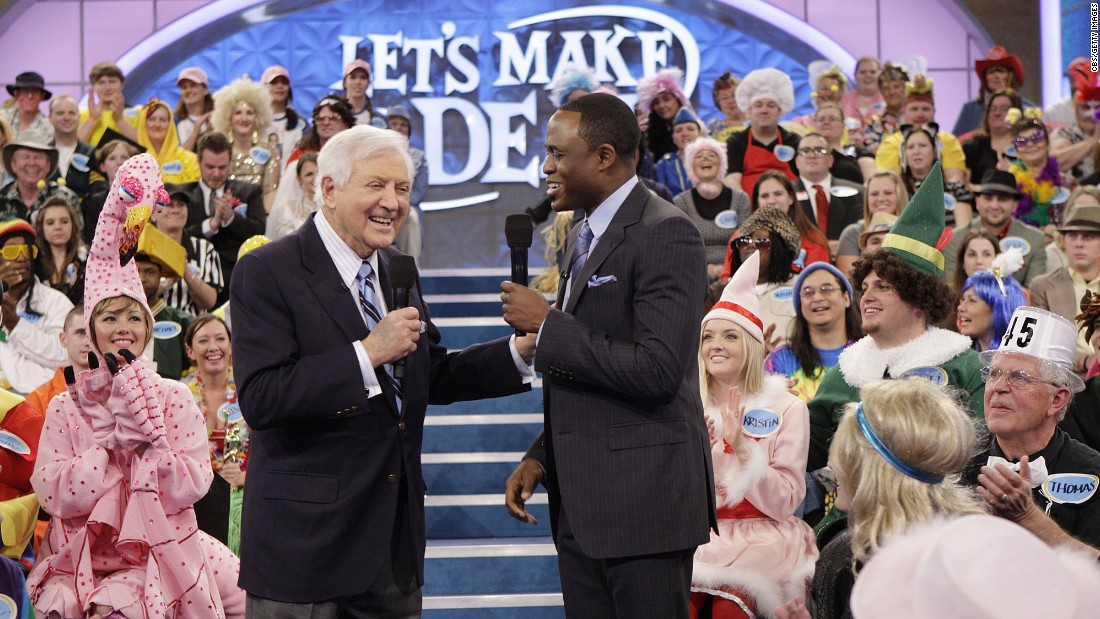 "Monty Hall joins Wayne Brady on on ""Let's Make a Deal"" in 2010."