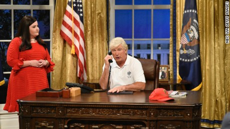 Aidy Bryant in character as White House press secretary Sarah Huckabee Sanders and Alec Baldwin as President  Donald Trump during the season premier of Saturday Night Live in New York on Saturday, September 30, 2017.