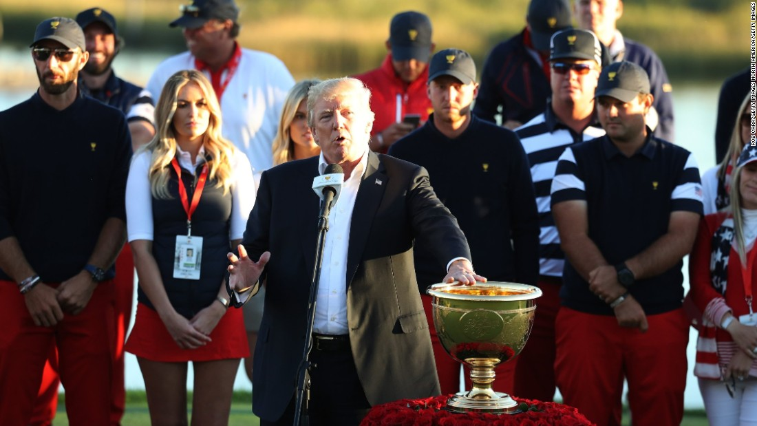 Trump dedicated the trophy to the victims of recent hurricanes, specifically mentioning those in Puerto Rico.