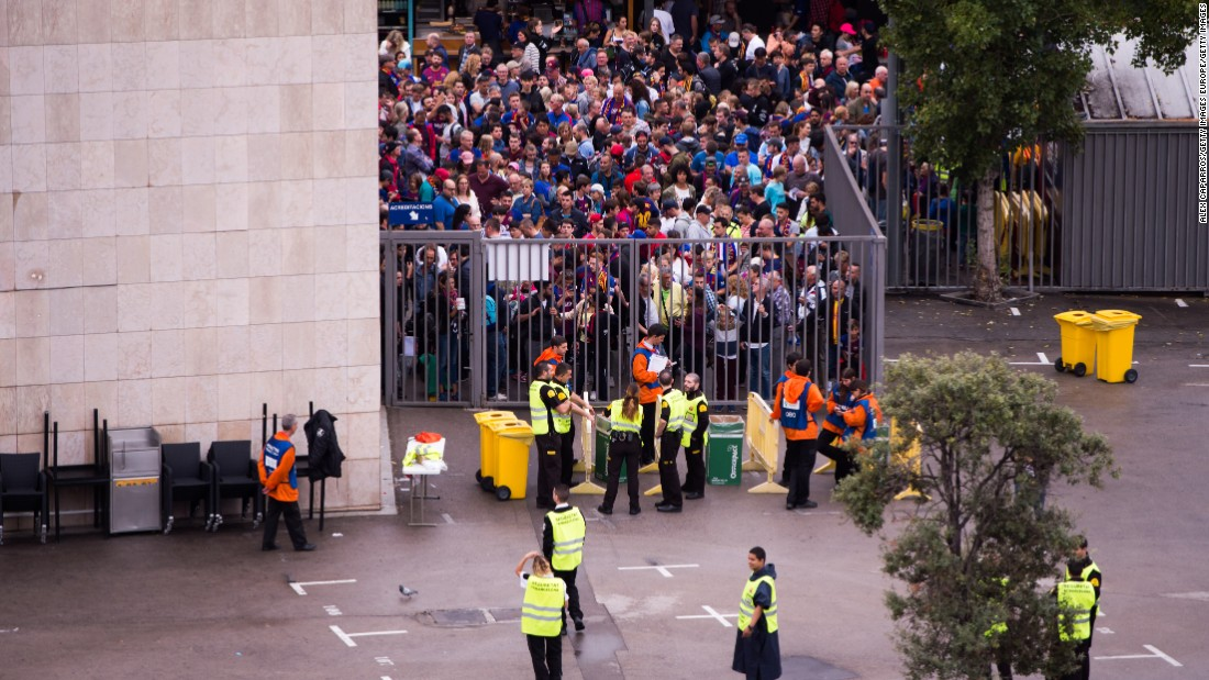 Spectators queue to access the stadium ahead of the La Liga match between Barcelona and Las Palma.  The match was eventually played with empty stands after the events occurred in Catalonia during the voting of a independence referendum declared illegal and undemocratic by the Spanish government.