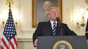 US President Donald Trump delivers a statement on the Las Vegas shooting from the Diplomatic Reception Room of the White House on October 2, 2017.