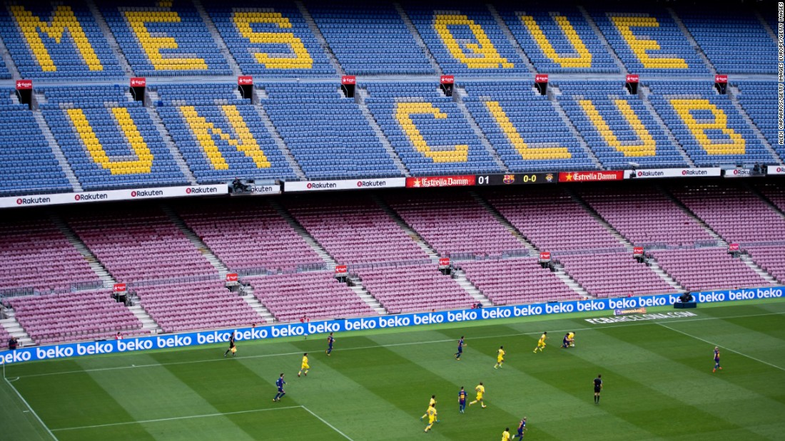 "Barcelona's game against Las Palmas was played in an empty stadium, with the club's slogan -- ""more than a club"" -- clearly visible on the seats. Barca took the decision on safety grounds as violent scenes took place on the day of the Catalonia independence vote, ruled illegal by the Spanish government."