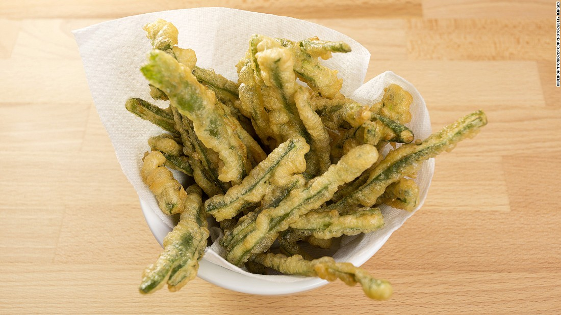 <strong>Fried green beans: </strong>How do you turn something from healthy to unhealthy? Deep fry it.