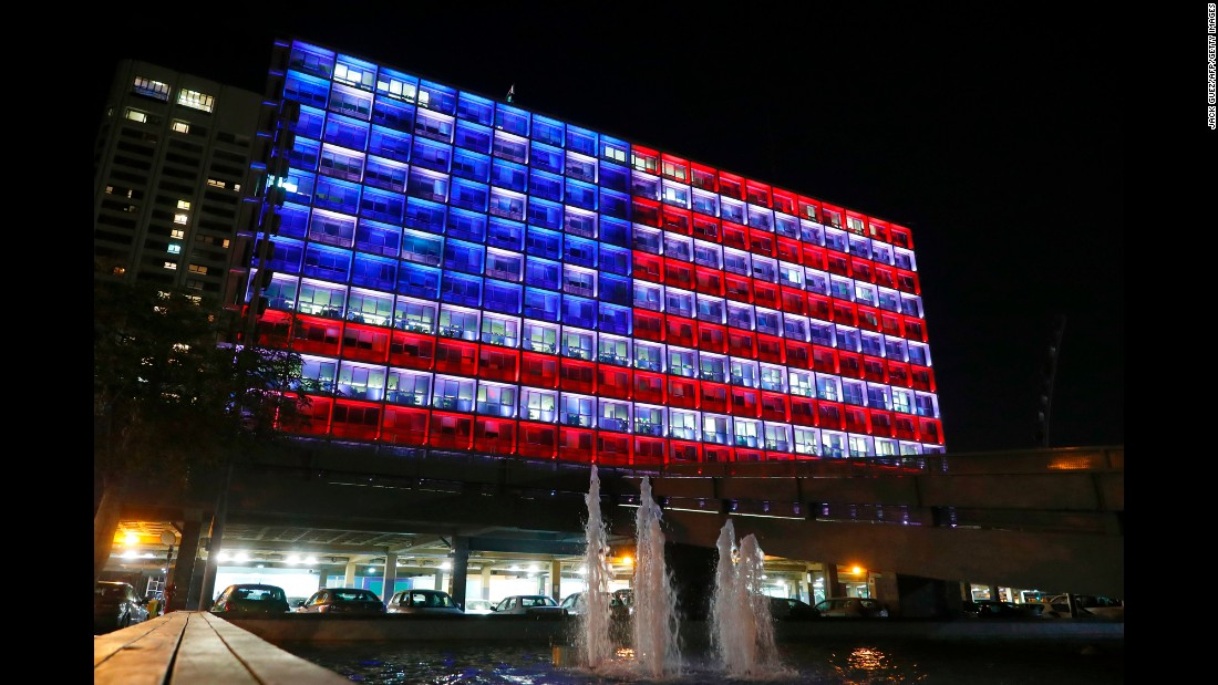 City Hall in Tel Aviv, Israel, is lit up like the American flag on October 2.