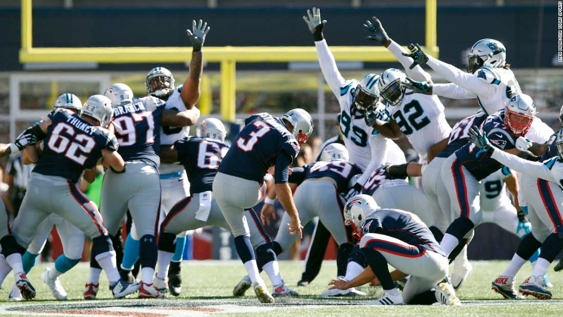 New England kicker Stephen Gostkowski boots a 58-yard field goal during a home game against Carolina on Sunday, October 1. In the end, though, it was Carolina winning with a last-second field goal, 33-30 over the defending NFL champions.