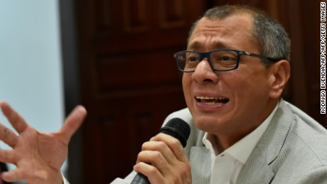 Ecuadorean Vice-President Jorge Glas, allegedly involved in the sweeping corruption scandal around the Brazilian construction giant Odebrecht, offers a press conference in Quito on September 29, 2017. Last month, Ecuador's congress withdrew Glas's immunity in order to allow prosecutors to open a corruption inquiry related to the Odebrecht scandal. No formal charges have yet been brought against him.  / AFP PHOTO / Rodrigo BUENDIA        (Photo credit should read RODRIGO BUENDIA/AFP/Getty Images)