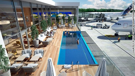 "From the ""therapeutic"" pool at  DFT Airport, to Singapore's Changi's rooftop pool, here are some of the best airport swimming pools."