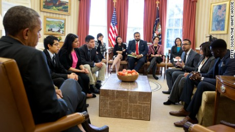 """It was a big responsiblility going there, and not just talking about my experiences, but the experiences of millions of undocumented folks that didn't have that opportunity,"" says Rishi Singh, shown here speaking with President Obama in 2015."