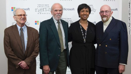 NASA astronaut Mae Jemison, second right, with the recipients of the 2017 Nobel Prize in Physics, from left, Rainer Weiss, Barry C. Barish and Kip S. Thorne.