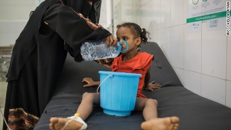 August 28, 2017 -- Fatima Yasen Ibrahim is treated for cholera at IRC-supported Al Sadaqa Hospital in Aden, Yemen. Yemen is currently experiencing the largest cholera outbreak in history.