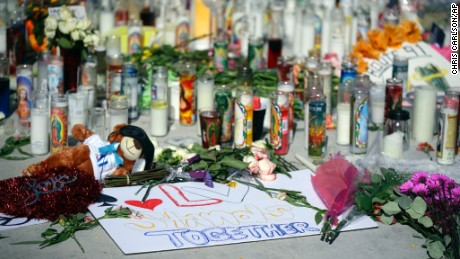 A makeshift memorial site on Las Vegas Boulevard on Tuesday in Las Vegas.