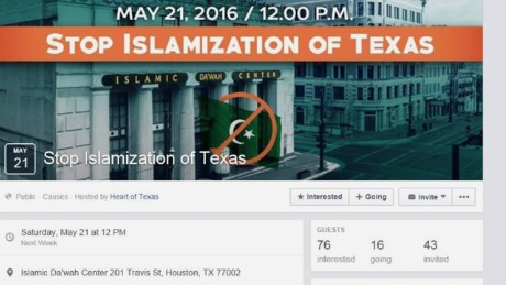 "A screenshot of the Event Page for ""Stop Islamization of Texas,"" which was created by the Russian-linked group Heart of Texas."