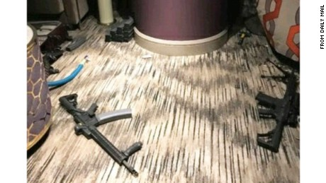 Leaked photos published by the Daily Mail show the scene inside Stephen Paddock's room at the Mandalay Bay in Las Vegas.