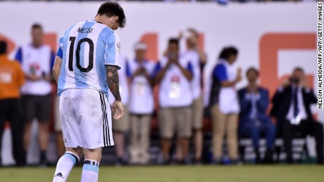 Messi shows his dejection after being defeated by Chile in the 2016 Copa America final.