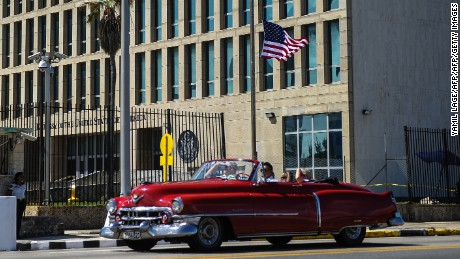 "Picture of the US embassy in Havana, taken on October 3, 2017.  Cuba's Foreign Minister Bruno Rodriguez on Tuesday slammed the US expulsion of Cuban diplomats as ""unjustified... unfounded and unacceptable,"" in a deepening row over mysterious attacks on staff at the US embassy in Havana. / AFP PHOTO / YAMIL LAGE        (Photo credit should read YAMIL LAGE/AFP/Getty Images)"