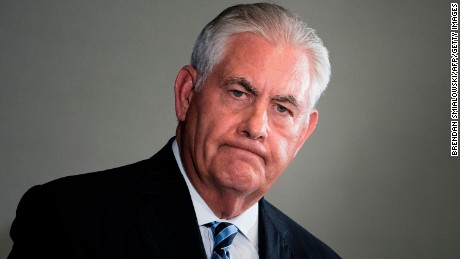 "US Secretary of State Rex Tillerson pauses while speaking to the press at the Hilton Midtown about an earlier P5+1 meeting on the Iran Nuclear deal at the United Nations headquarters during the 72nd United Nations General Assembly on September 20, 2017 in New York City. US Secretary of State Rex Tillerson said Wednesday he had had a matter of fact exchange with his Iranian counterpart Mohammad Javad Zarif but that Washington continues to have ""significant issues"" with the Iran nuclear deal.  / AFP PHOTO / Brendan Smialowski        (Photo credit should read BRENDAN SMIALOWSKI/AFP/Getty Images)"