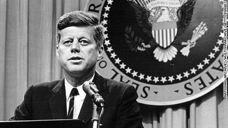 President John F. Kennedy speaks at a press conference August 1, 1963.