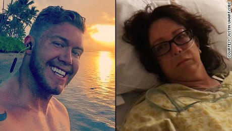 Justin Uhart refused to leave Jan Lambourne's side until she was in surgery.