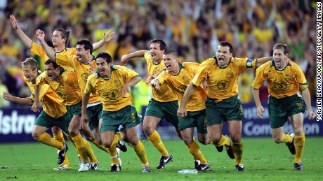 SYDNEY, AUSTRALIA:  The Australian Socceroos jubilate after defeating Uruguay in the FIFA World Cup qualifier at Stadium Australia in Sydney, 16 November 2005. Australia ended their 31-year nightmare to qualify for the 2006 World Cup finals in Germany by winning the penalty shootout 4-2 after both teams remained tied at one home goal each after extra time.  AFP PHOTO/Torsten BLACKWOOD  (Photo credit should read TORSTEN BLACKWOOD/AFP/Getty Images)