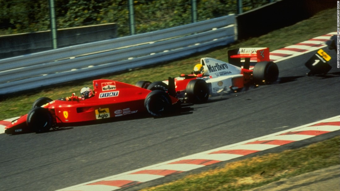 Prost (left), who had moved to Ferrari in 1990, was shunted by Senna as they approached Turn One.