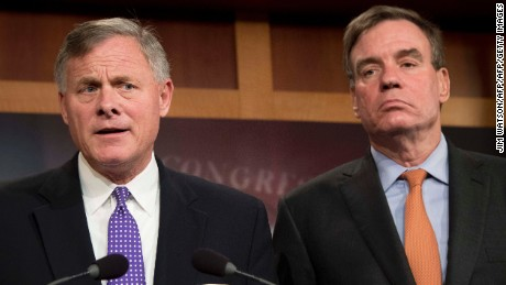 Senate Intelligence Chairman Richard Burr at left a North Carolina Republican and Senate Intelligence Vice Chairman Mark Warner at right a Virginia Democrat hold a news conference on the status of the committee's inquiry into Russian interferenc