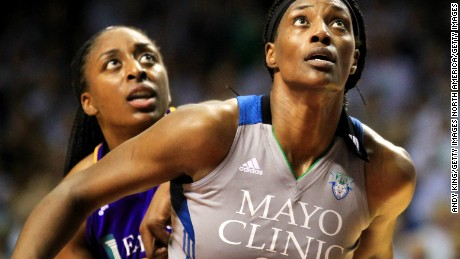 Sylvia Fowles #34 of the Minnesota Lynx and Nneka Ogwumike #30 of the Los Angeles Sparks battle for position in Game 1.