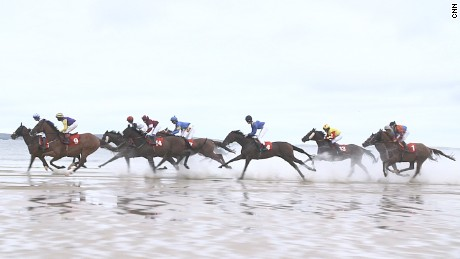 Pony racing on the Irish coast