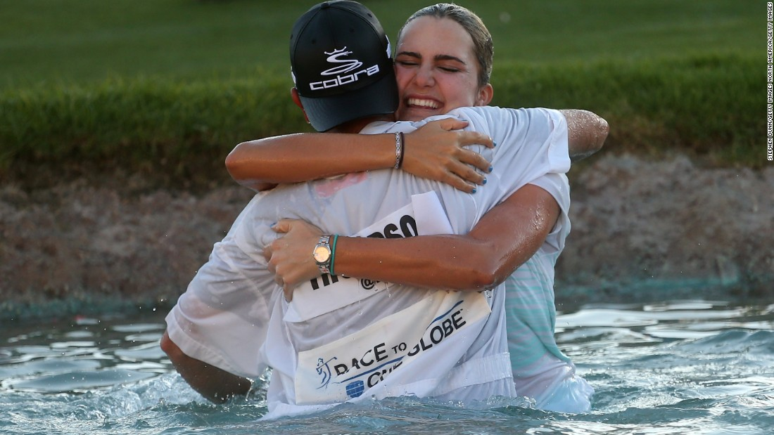 Thompson won her first major a year later, famously jumping into the lake with caddie Benji Thompson (no relation) after victory in the 2014 Kraft Nabisco Championship.