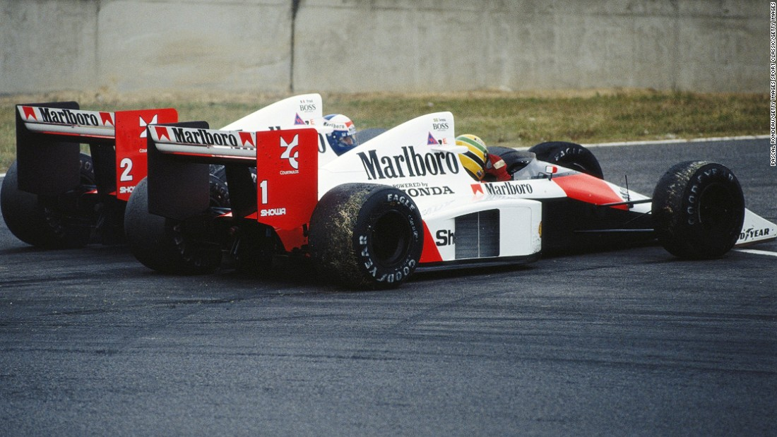 The pair clashed with six laps to go at the chicane during the 1989 Japanese Grand Prix.