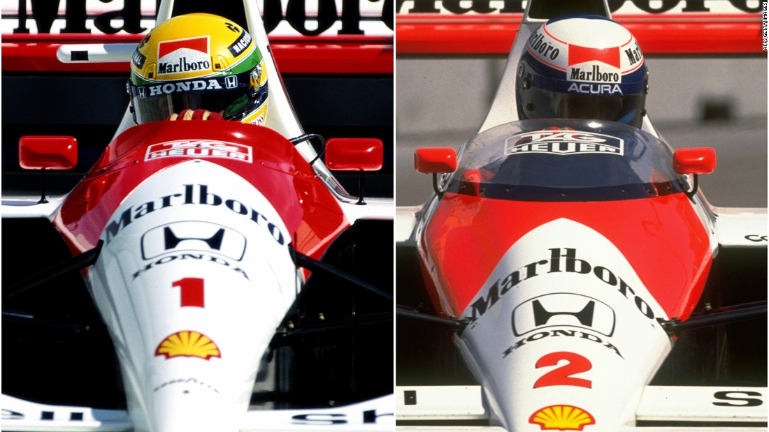 The rivalry between the Frenchman (right) and the late Brazilian was one of F1's most acrimonious ever seen in the sport's history.