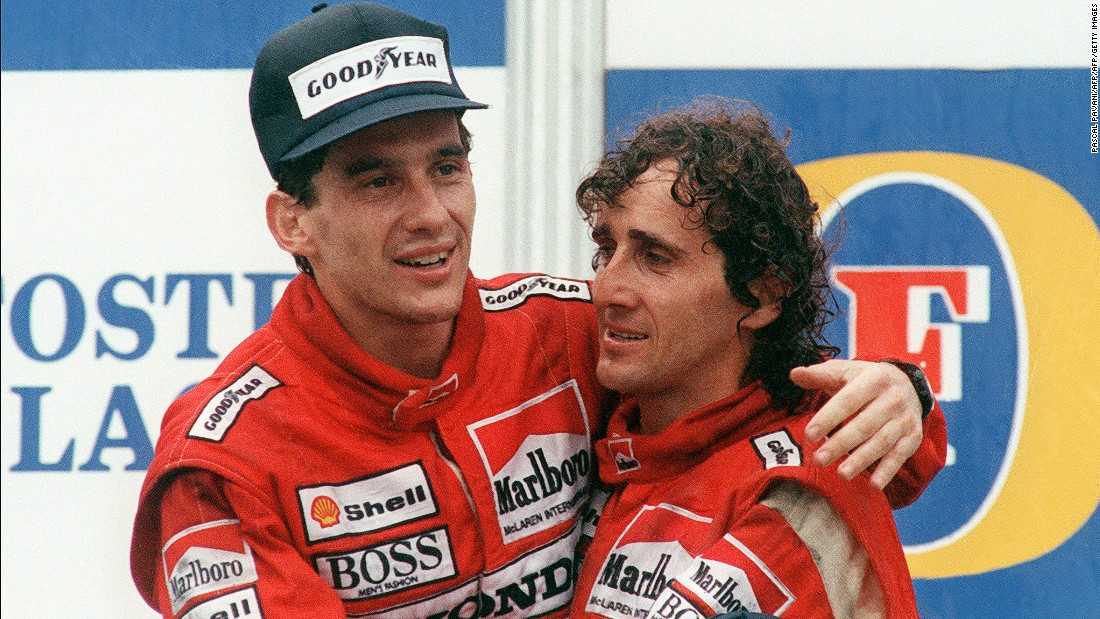 McLaren teammates Ayrton Senna (left) and Alain Prost embrace after the Brazilian clinched the 1988 title in Australia. Their friendship on and off the track didn't last long.