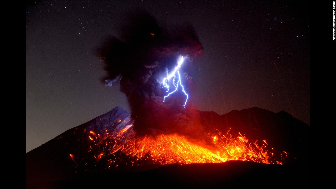 In this long-exposure image, Mount Sakurajima erupts in Tarumizu, Japan, on Friday, September 29.