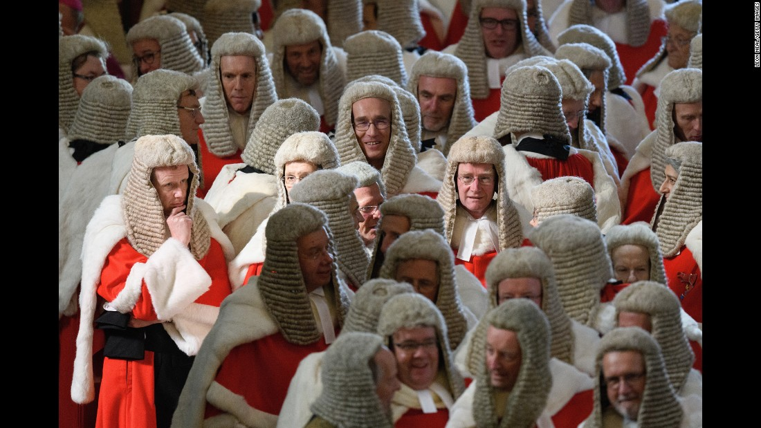 High Court judges wait in London's Westminster Abbey on Monday, October 2, ahead of the annual service to mark the start of the legal year.