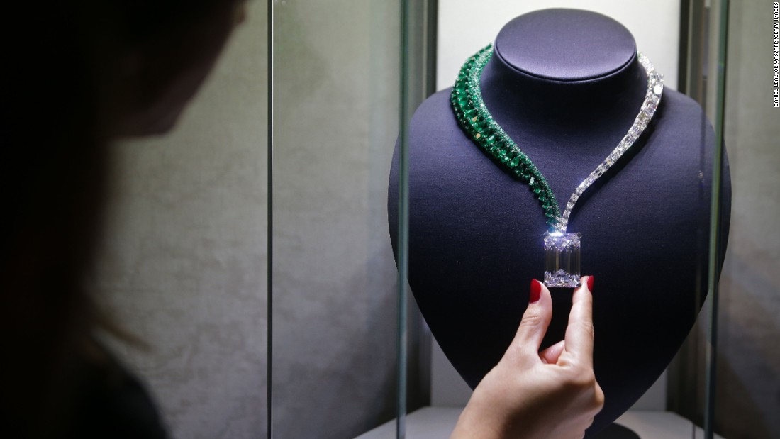 A necklace known as Creation I, which features a 163.41-carat diamond, is pictured at a London auction house on Sunday, October 3. It is expected to fetch around $30 million (US) when it is auctioned next month.
