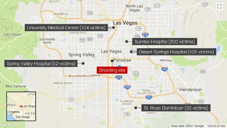 These hospitals received the most patients after nearly 500 people were wounded in Sunday's mass shooting.