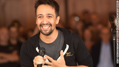 HOLLYWOOD, CA - AUGUST 16:  Lin-Manuel Miranda speaks onstage during the #Ham4Ham featuring Lin-Manuel Miranda at the Pantages Theatre on August 16, 2017 in Hollywood, California.  (Photo by Matt Winkelmeyer/Getty Images)