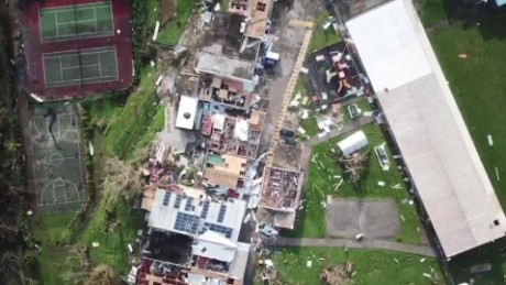 Drone footage shows destruction in Dominica