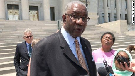In this June 9, 2017 photo, Circuit Judge Wendell Griffin speaks at a news conference on the steps of the Arkansas State Capitol in Little Rock, Ark. Griffen has said in his Little Rock courtroom that youthful offenders given mandatory life without parole sentences are entitled to individualized sentencing hearings after the U.S. Supreme Court ruled that it was unconstitutional to impose no-parole terms. (AP/Andrew DeMillo)