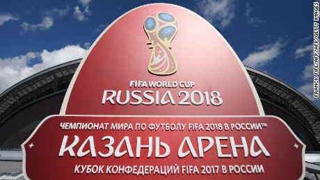 The 2018 World Cup logo is pictured outside the Kazan Arena stadium in Kazan, Russia, on June 17, 2017 ahead of the Russia 2017 Confederation Cup football tournament. / AFP PHOTO / FRANCK FIFE        (Photo credit should read FRANCK FIFE/AFP/Getty Images)