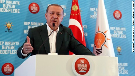Turkish President Recep Tayyip Erdogan delivers a speech at his ruling political party's meeting in Afyonkarahisar province, Turkey, on Saturday.