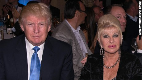 Donald Trump and Ivana Trump attend a golf tournament on September 15, 2014, in Briarcliff Manor, New York.