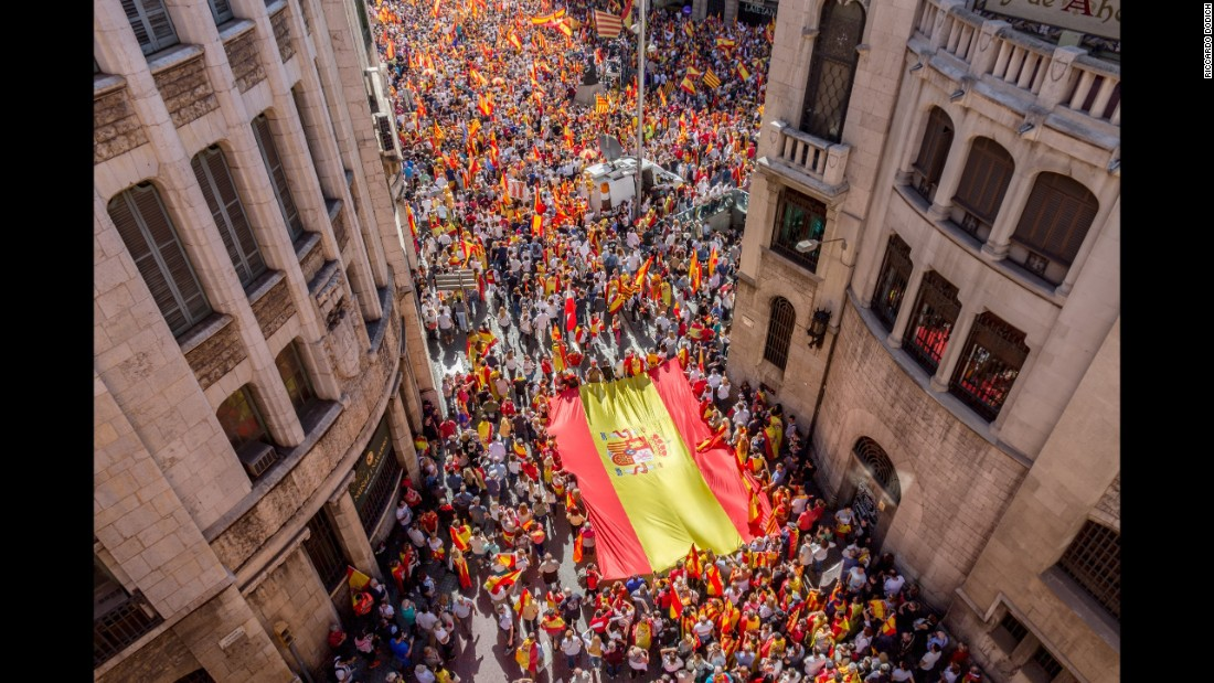 Thousands of people gather in Barcelona to rally for unity in Spain on October 8.