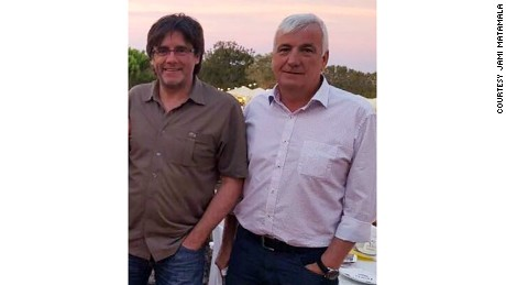 Carles Puigdemont (L) and friend Jami Matamala pictured in 2016.