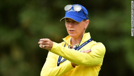 WEST DES MOINES, IA - AUGUST 15:  Annika Sorenstam, European Team Captain gestures during practice for The Solheim Cup at the Des Moines Country Club on August 15, 2017 in West Des Moines, Iowa.  (Photo by Stuart Franklin/Getty Images)