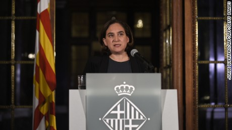 Barcelona mayor Ada Colau delivers a speech at the City Council in Barcelona.