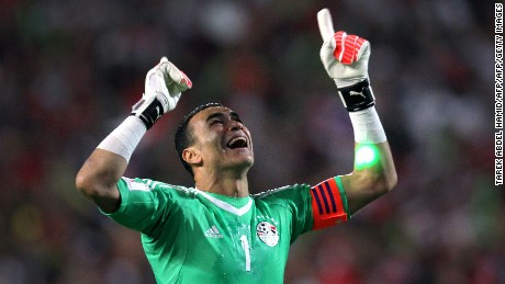 Egypt's Essam El-Hadary celebrates wining against Congo's team during their World Cup 2018 Africa qualifying match between Egypt and Congo at the Borg el-Arab stadium in Alexandria on October 8, 2017. Liverpool striker Mohamed Salah converted a stoppage-time penalty to give Egypt a dramatic 2-1 win over Congo Brazzaville Sunday and a place at the 2018 World Cup in Russia. / AFP PHOTO / TAREK ABDEL HAMID        (Photo credit should read TAREK ABDEL HAMID/AFP/Getty Images)