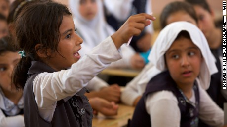 A sign of normalcy: Schools for girls have reopened in western Mosul.